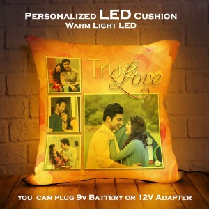 Personalized LED Cushion with True Love Design backview