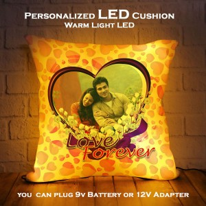 Personalized LED Cushion with Love Forever Design backview
