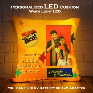 Personalized LED Cushion with Raksha bandhan Design backview