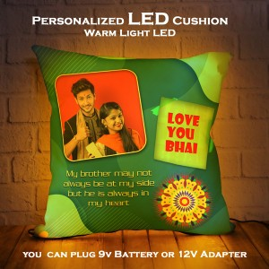 Personalized LED Cushion with Raksha bandhan Design 02 backview