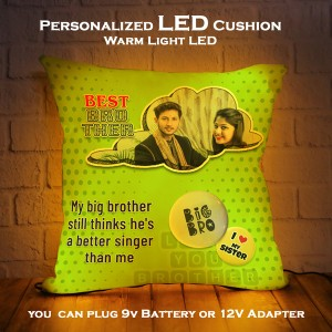 Personalized LED Cushion with Raksha bandhan Design 03 backview