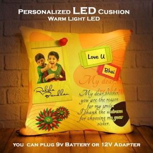 Personalized LED Cushion with Raksha bandhan Design 04 backview
