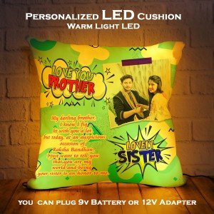 Personalized LED Cushion with Raksha bandhan Design 05 backview