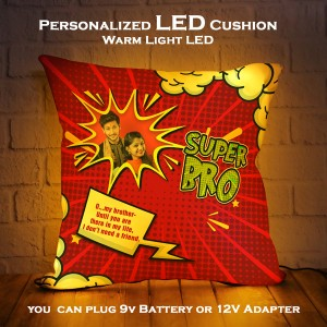Personalized LED Cushion with Raksha bandhan Design 06 backview