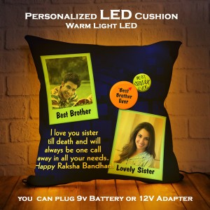 Personalized LED Cushion with Raksha bandhan Design 07 backview
