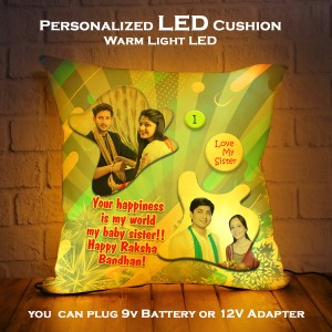 Personalized LED Cushion with Raksha bandhan Design 08 backview