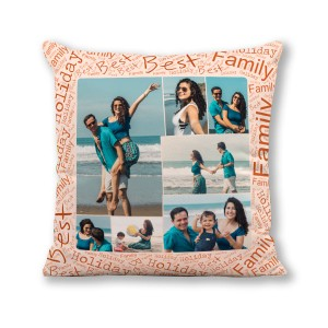 Personalized Photo Collage Cushion 16X16 Satin Fabric with Best Family border backview