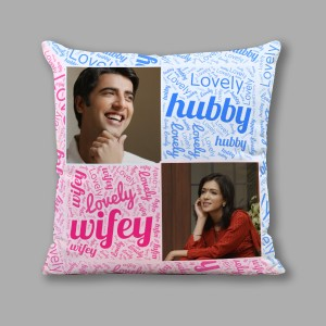Personalized Lovely Hubby Wifey Cushion 16X16 Satin Fabric backview