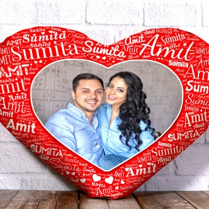 Personalized Heart Shape Cushion With Name art Red Design Border backview