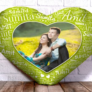 Personalized Heart Shape Cushion With Name art Green Design Border backview