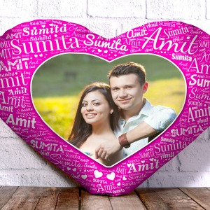Personalized Heart Shape Cushion With Name art Pink Design Border backview