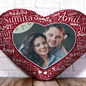 Personalized Heart Shape Cushion With Name art Rosewood Design Border backview