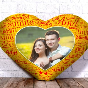 Personalized Heart Shape Cushion With Name art Yellow Design Border backview