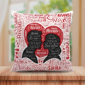 Personalized Couple Name Art Cushion Couple and Heart Design