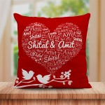Personalized Couple Name Art Cushion Red Bird Design