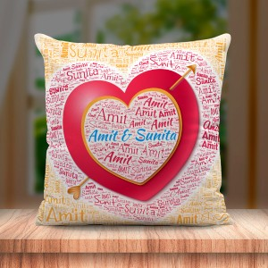 Personalized Couple Name Art Cushion with heart and arrow Design
