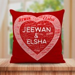 Personalized Couple Name Art Cushion with Heart Design