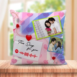Personalized Cushion For love with Spotify Song QR code 04