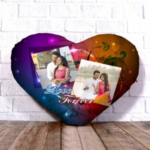 Personalized Heart Shape Cushion with Love Forever 2 Design