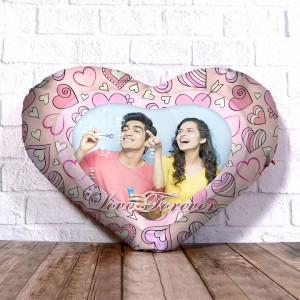 Personalized Heart Shape Cushion with Love Forever Design