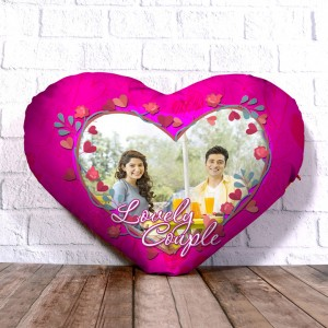 Personalized Heart Shape Cushion with Lovely Couple Design