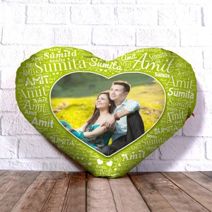 Personalized Heart Shape Cushion With Name art Green Design Border