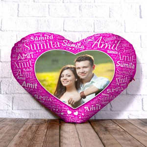Personalized Heart Shape Cushion With Name art Pink Design Border