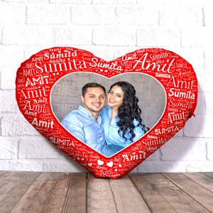 Personalized Heart Shape Cushion With Name art Red Design Border