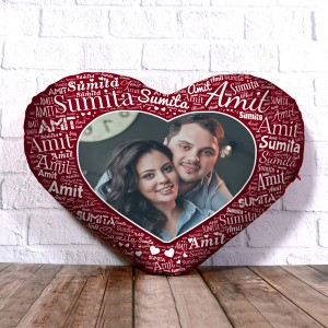 Personalized Heart Shape Cushion With Name art Rosewood Design Border