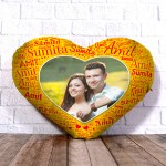 Personalized Heart Shape Cushion With Name art Yellow Design Border
