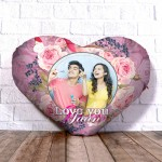 Personalized Heart Shape Cushion with Rose background Design
