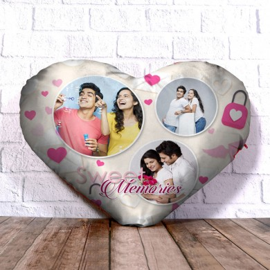 Personalized Heart Shape Cushion with Sweet Memories Design