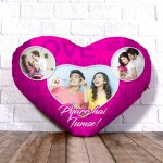 Personalized Heart Shape Cushion with three image Design
