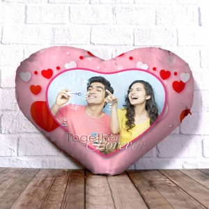 Personalized Heart Shape Cushion with Together Forever Design