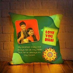 Personalized LED Cushion with Raksha bandhan Design 02