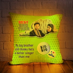 Personalized LED Cushion with Raksha bandhan Design 03