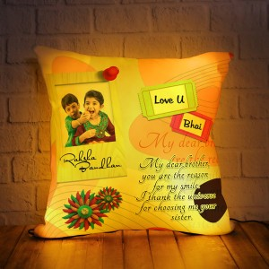 Personalized LED Cushion with Raksha bandhan Design 04
