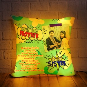 Personalized LED Cushion with Raksha bandhan Design 05