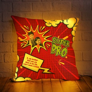 Personalized LED Cushion with Raksha bandhan Design 06