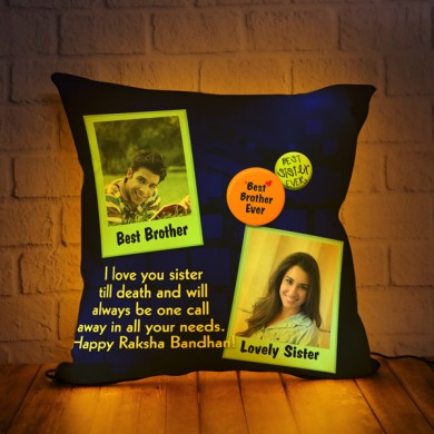 Personalized LED Cushion with Raksha bandhan Design 07