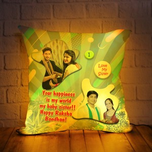 Personalized LED Cushion with Raksha bandhan Design 08