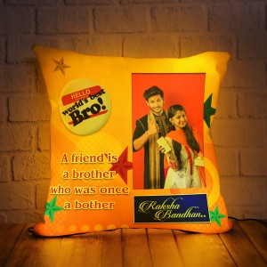 Personalized LED Cushion with Raksha bandhan Design