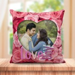 Personalized Love Day pink rose cushion design