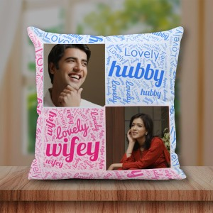 Personalized Lovely Hubby Wifey Cushion 16X16 Satin Fabric