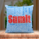 Personalized Name Art Cushion Blue Colour