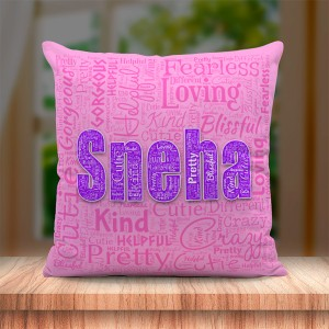 Personalized Name Art Cushion Pink Colour