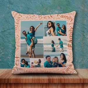 Personalized Photo Collage Cushion 16X16 Satin Fabric with Best Family border