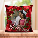 Personalized Rose Day cushion design