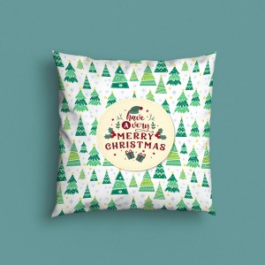 Decorative Merry Christmas Design Satin Cushion