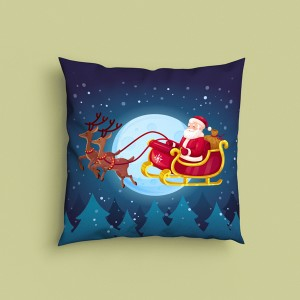 Decorative Christmas Santa Design Satin Cushion